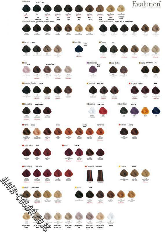 קטלוג צבעי שיער אבולושן
